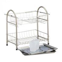 Autre - Egouttoir à vaisselle 2 étages porte couvert inox grille assiette HxlxP: 39,5 x 60 x 22 cm argenté