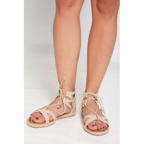 Princesse Boutique - Sandales beige à lacets