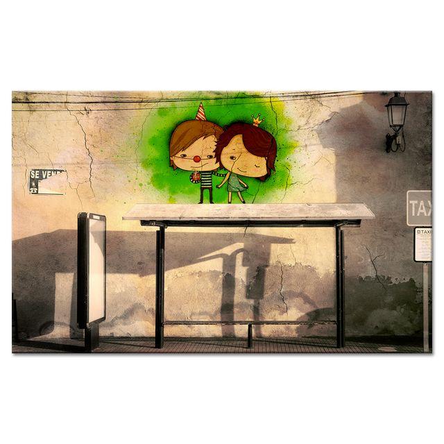 declina tableau toile street art arr t de bus pas cher achat vente tableaux peintures. Black Bedroom Furniture Sets. Home Design Ideas
