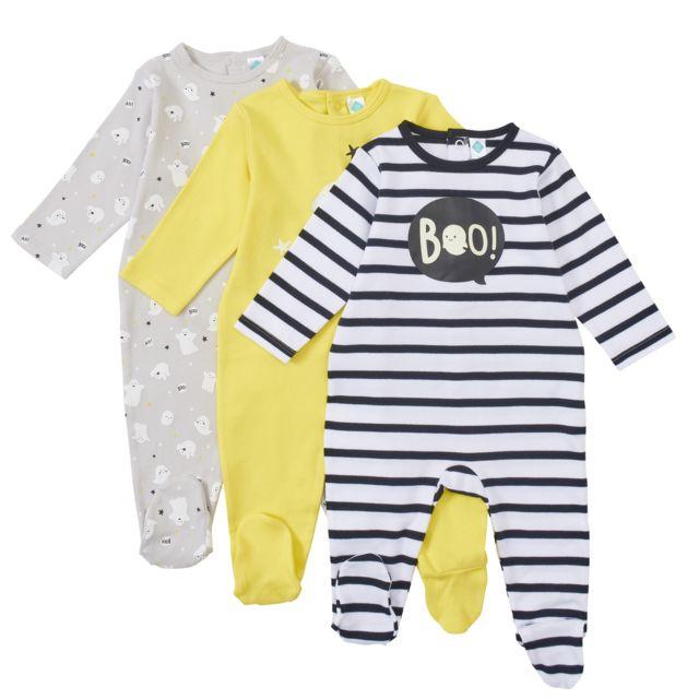 63f4e0b121130 TEX BABY - Lot de 3 pyjamas bébé Interlock - pas cher Achat / Vente ...