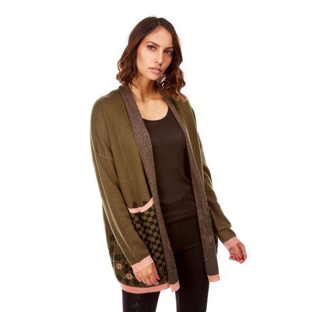 joli design se connecter meilleur prix pour Doucel - Long gilet imprimé Couleur - vert, Taille Femme ...