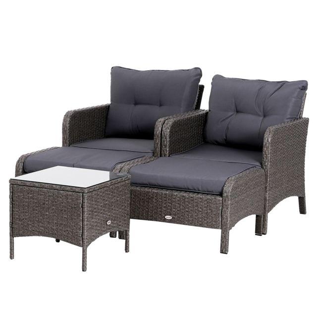 OUTSUNNY - Lot de 2 fauteuils de jardin grand confort repose ...