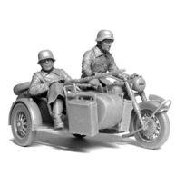 Master Box - Figurines 2ème Guerre Mondiale : Set de reconnaissance motocycliste allemand : Moto Bmw R-75