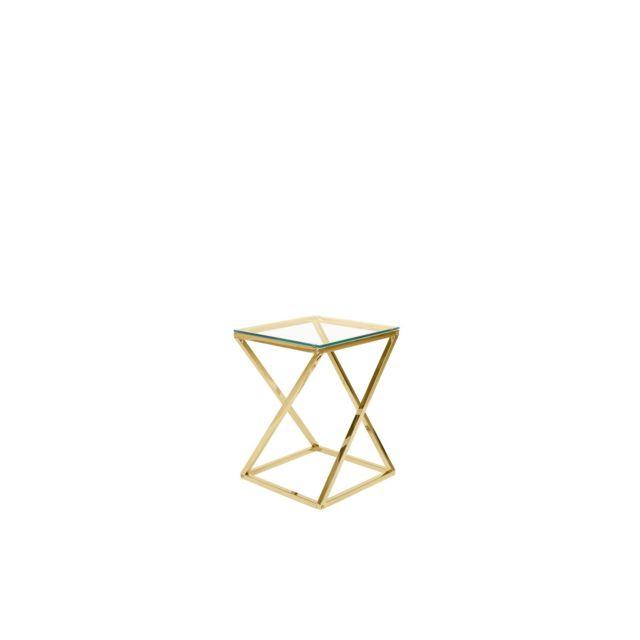 BELIANI Table appoint doré avec plateau en verre BEVERLY - transparent