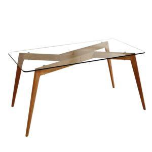 Table manger rectangulaire en verre pi tement bois - Table a manger carrefour ...