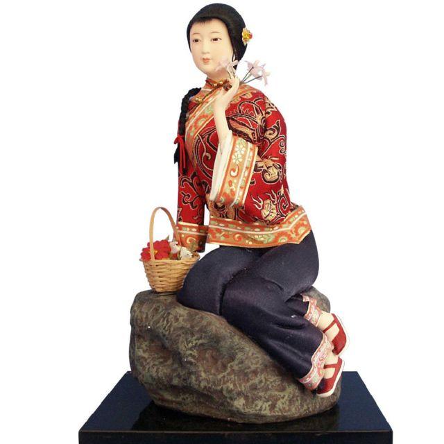 Sudtrading Statuette en résine Chinoise - Fleurs