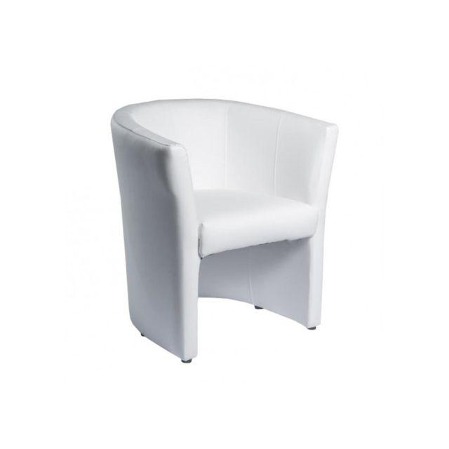 Meubletmoi Fauteuil blanc en simili - Design contemporain - Cabri