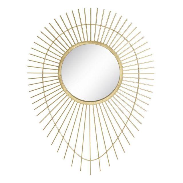 Tousmesmeubles Miroir goutte Métal doré N°4 - Semela
