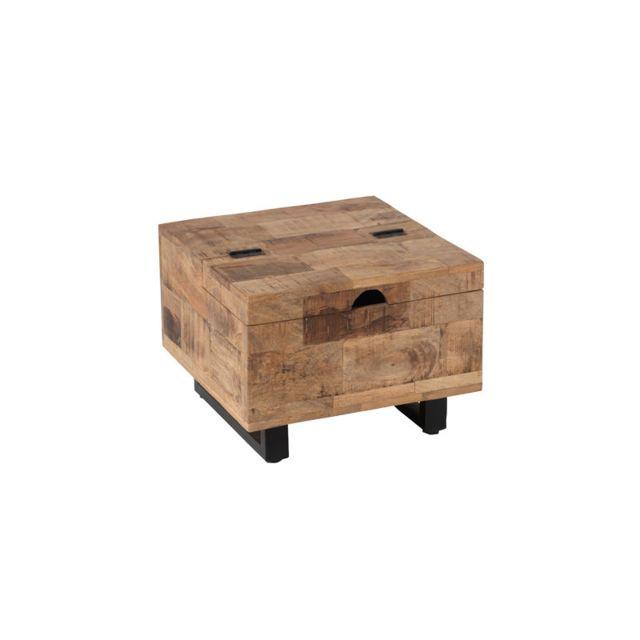 Tousmesmeubles Petite table basse carrée coffre en Bois/Métal - Uniona