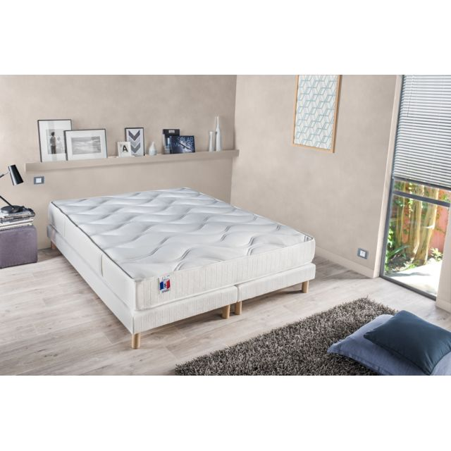 lovea ensemble matelas ressort 5 zones sommier bois massif 160x200 rodolphe blanc 160cm x. Black Bedroom Furniture Sets. Home Design Ideas