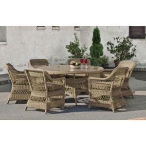 Hevea - Salon de jardin avec table ronde Ø 1m + 4 fauteuils avec ...