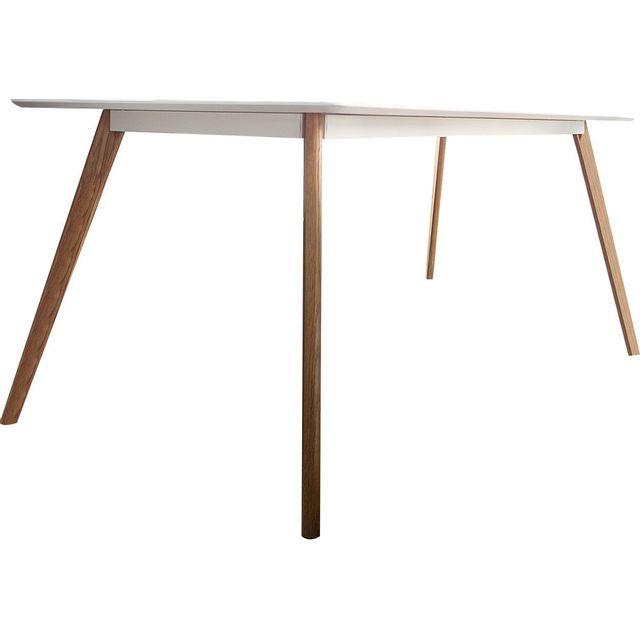 Comforium Table design en mdf coloris blanc laqué