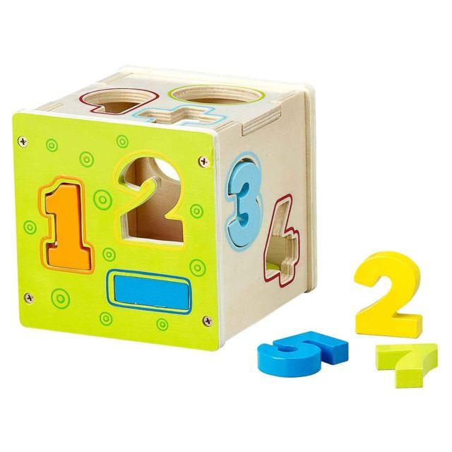 Imagin Jouet éducatif en bois - Cube avec chiffres à encastrer