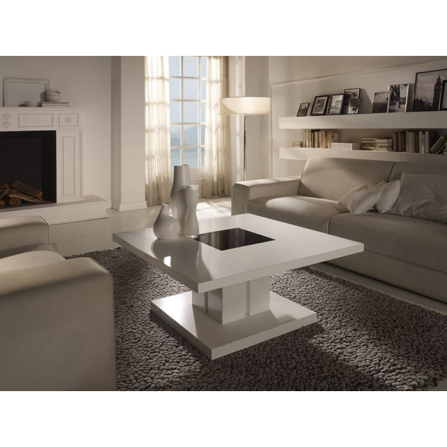 Sofamobili Table basse carrée blanc laqué design Mirtilla