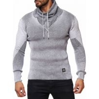 Selection Izi - Pull homme col haut gris
