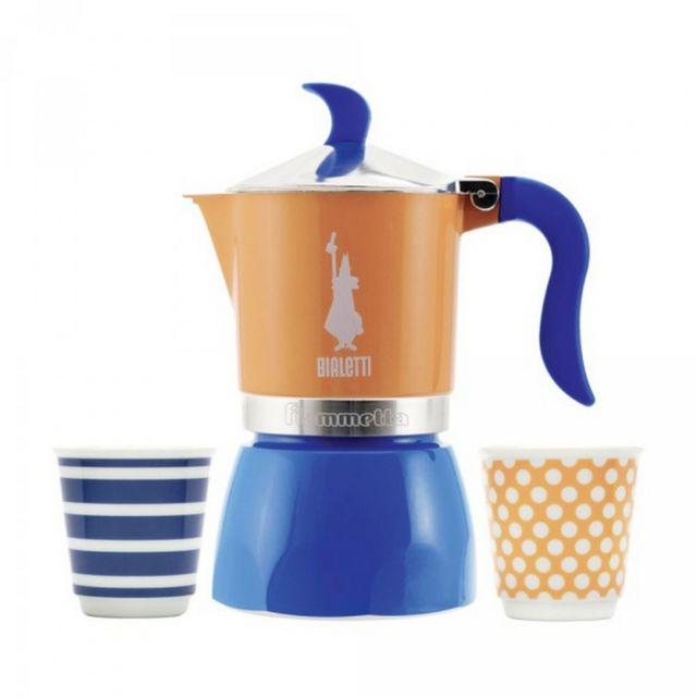 bialetti coffret cafeti re italienne 3 tasses pop bleu. Black Bedroom Furniture Sets. Home Design Ideas