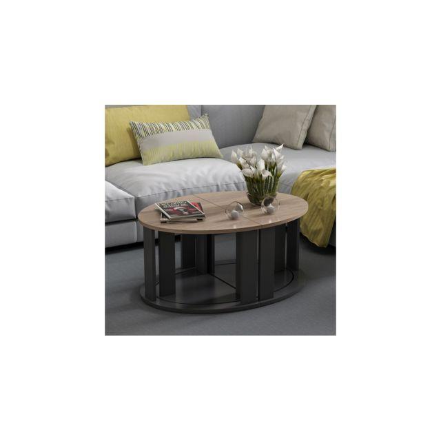 Homemania Table Basse Antella Compacte Modulable - avec Étagères - pour Salon, Canapé - Noir en Bois, 90 x 60 x 41 cm