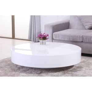 chloe design table basse ronde laqu e belius blanc 110cm x 30cm x 110cm pas cher achat. Black Bedroom Furniture Sets. Home Design Ideas