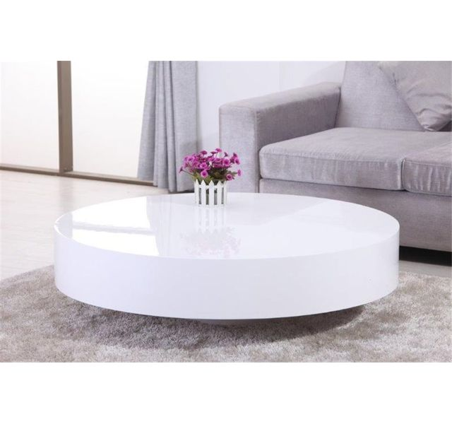 Chloe Design Table Basse Ronde Laquee Belius Blanc Pas Cher