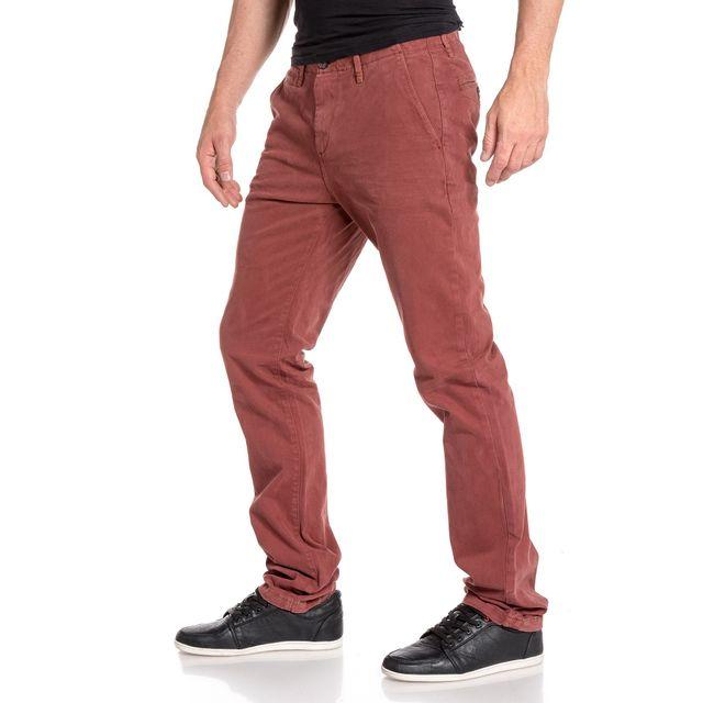 Pantalon homme chino bordeau détente-Rouge
