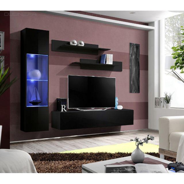 nouveau produit 8d40f d874d Dusine - Meuble Neuf Tv Laqué Design Neo suspendu Led Noir ...