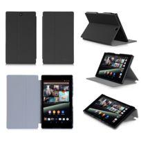 Xeptio - Housse Cuir Style luxe Ultra Slim tablette Sony Xperia Z3 Tablet Compact Sgp611 / Sgp621 noir - Etui coque