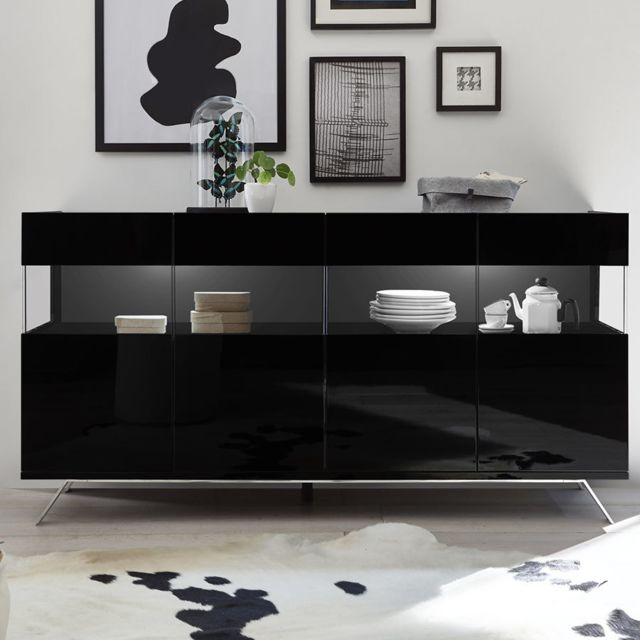 Kasalinea Bahut lumineux 4 portes design noir laqué Palermo 6