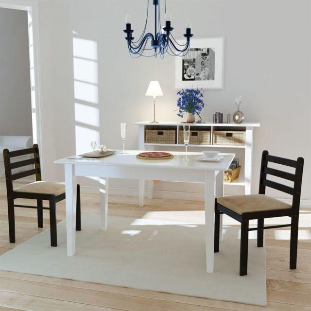 Sans Marque Set de 2 chaises marron en bois avec dossier carré