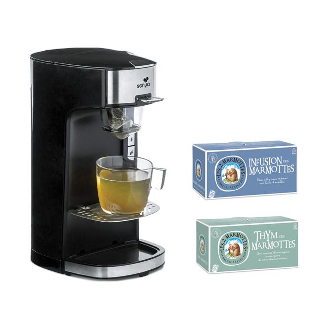 SENYA Set Machine à thé Tea Time noire avec 2 boîtes d'infusions Les 2 Marmottes Thym + Infusion des Marmottes
