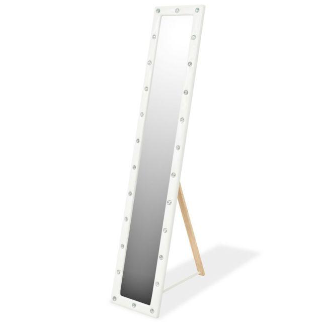 Miroir sur pied Cuir artificiel 30 x 150 cm Blanc brillant