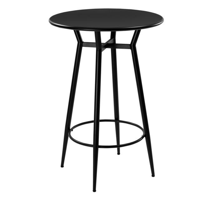 Rendez Vous Deco Table de bar ronde Homer en métal noir