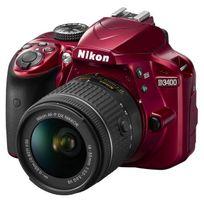 Nikon - D3400 - Reflex numérique - Grand capteur Dx de 24.2Mp - Vidéo Full Hd - Bluetooth - Rouge + Objectif Af-p Dx 18-55 Vr