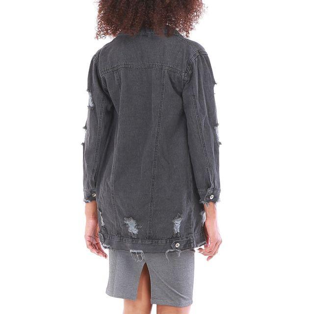 Lamodeuse - Veste grise en jean longue effet usé Gris Fonce