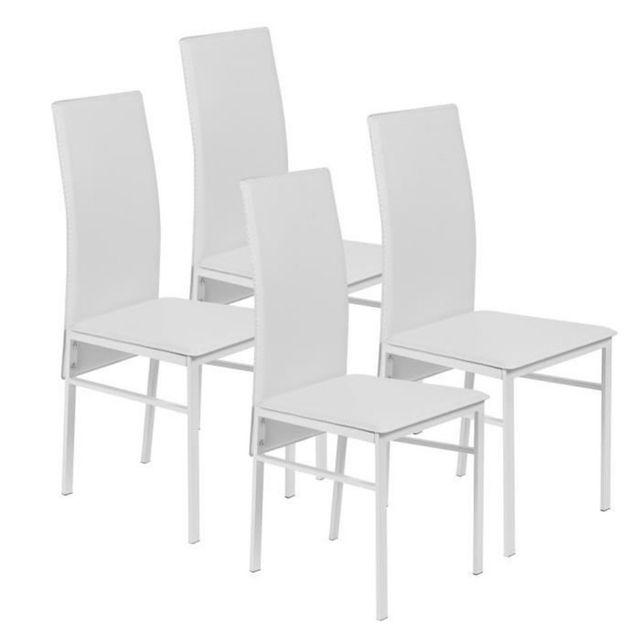 beaux meubles pas chers lot de 4 chaises blanches pas. Black Bedroom Furniture Sets. Home Design Ideas