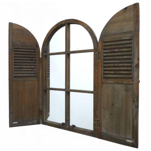 L'HÉRITIER Du Temps Grand Miroir Style Ancienne Fenêtre à 2 Volets Grande Glace Murale en Bois 5x54x88cm
