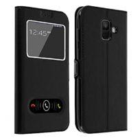 - Housse Etui Noir Intérieur Silicone Fenêtre Samsung Galaxy A6 Plus