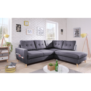 bobochic canap scandi 6 places et convertible angle droit gris fonc 198cm x 87cm. Black Bedroom Furniture Sets. Home Design Ideas