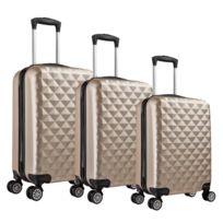 Univers Decor - Lot de 3 valises Valigo Paris Champagne 50/60/70 Abs