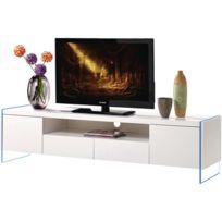 Meuble Tv Led Clara - 180 x 40 x 45 cm - Blanc laqué