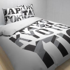 tex home parure tokyiodi housse de couette 1 taie d 39 oreiller en coton blanc pas cher achat. Black Bedroom Furniture Sets. Home Design Ideas