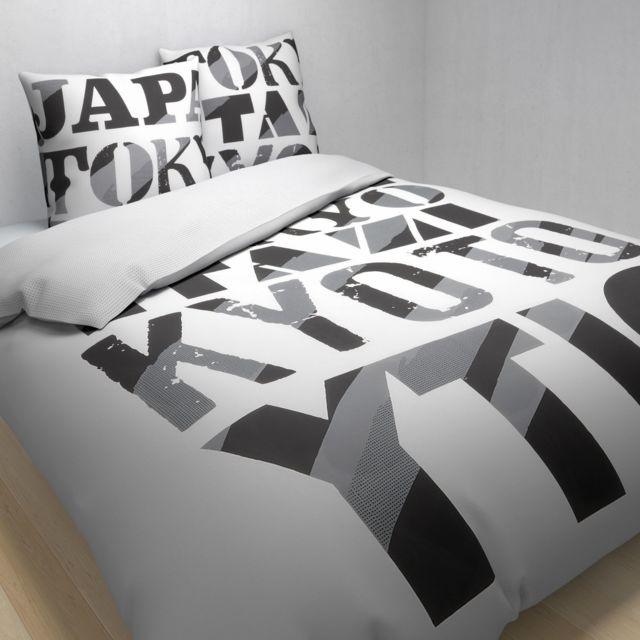 tex home parure tokyiodi housse de couette 1 taie d 39 oreiller en coton pas cher achat. Black Bedroom Furniture Sets. Home Design Ideas