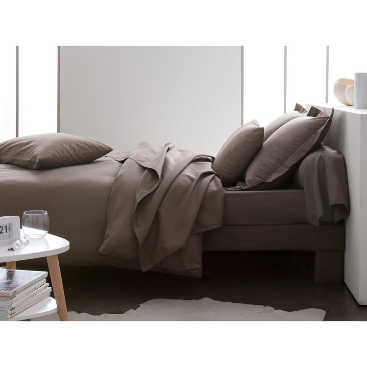 Parure de lit housse de couette + taie + drap housse uni 100% coton 57 fils/cm2 Plain - Bronze - 140x200cmNC