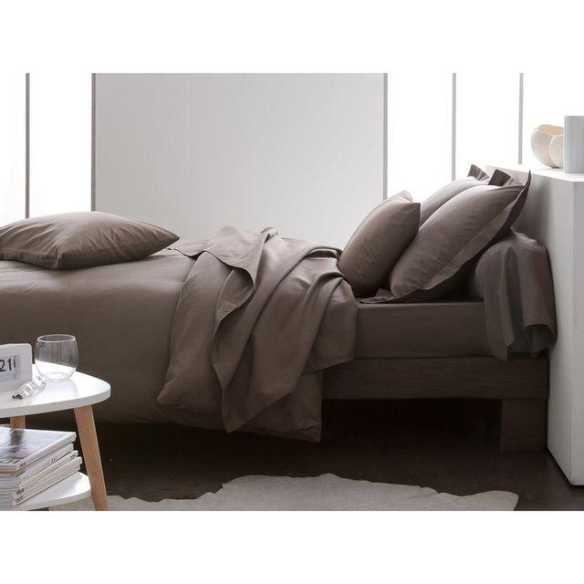Today - Parure de lit housse de couette + taie + drap housse uni 100% coton 57 fils/cm2 Plain - Bronze - 140x200cmNC