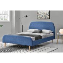 concept usine lit sandvik tissu cadre de lit scandinave bleu avec pieds en bois - Cadre De Lit Bois Massif