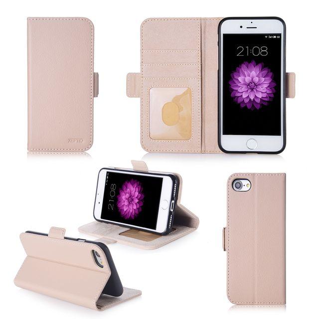 Xeptio - Apple iPhone 7   iPhone 8 4.7 pouces   Housse Portefeuille beige  Cuir Pu 7b1446d3277
