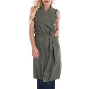 lamodeuse veste longue sans manches kaki pas cher achat vente veste femme rueducommerce. Black Bedroom Furniture Sets. Home Design Ideas