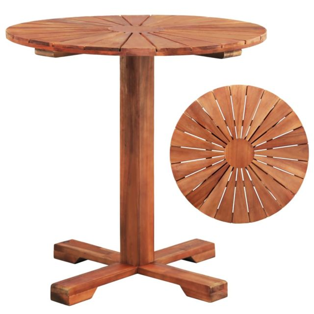 Vidaxl - Table sur pied Bois d\'acacia massif 70 x 70 cm Rond - pas ...