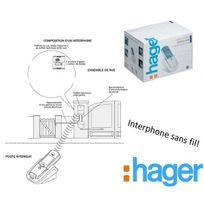 Hager - Kit interphone Sans Fil, portée 400m, platine de rue+ batterie+tèl 2 maison