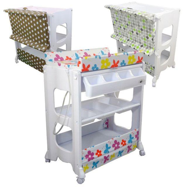 Monsieur bebe table langer avec baignoire et rangements rose pas cher achat vente - Carrefour baignoire bebe ...