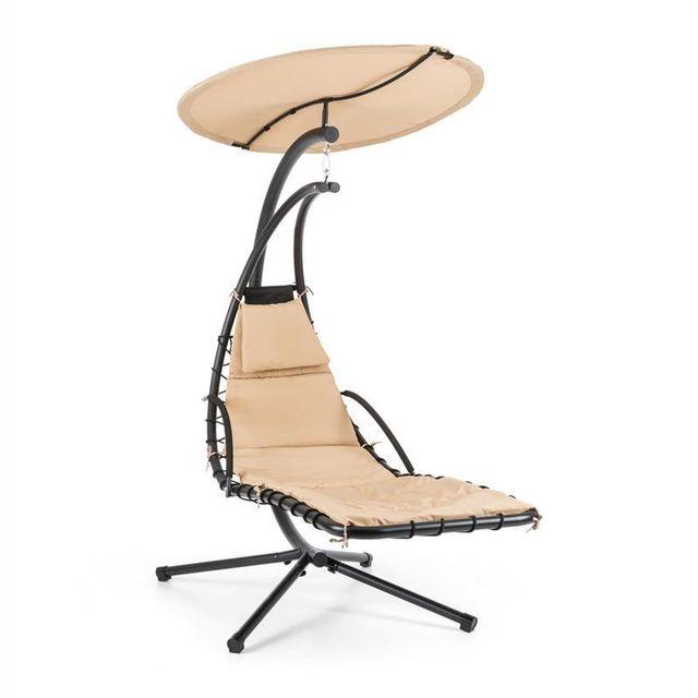 BLUMFELDT Dahlia Creamy Beige Chaise longue suspendue 200cm + pare soleil métal